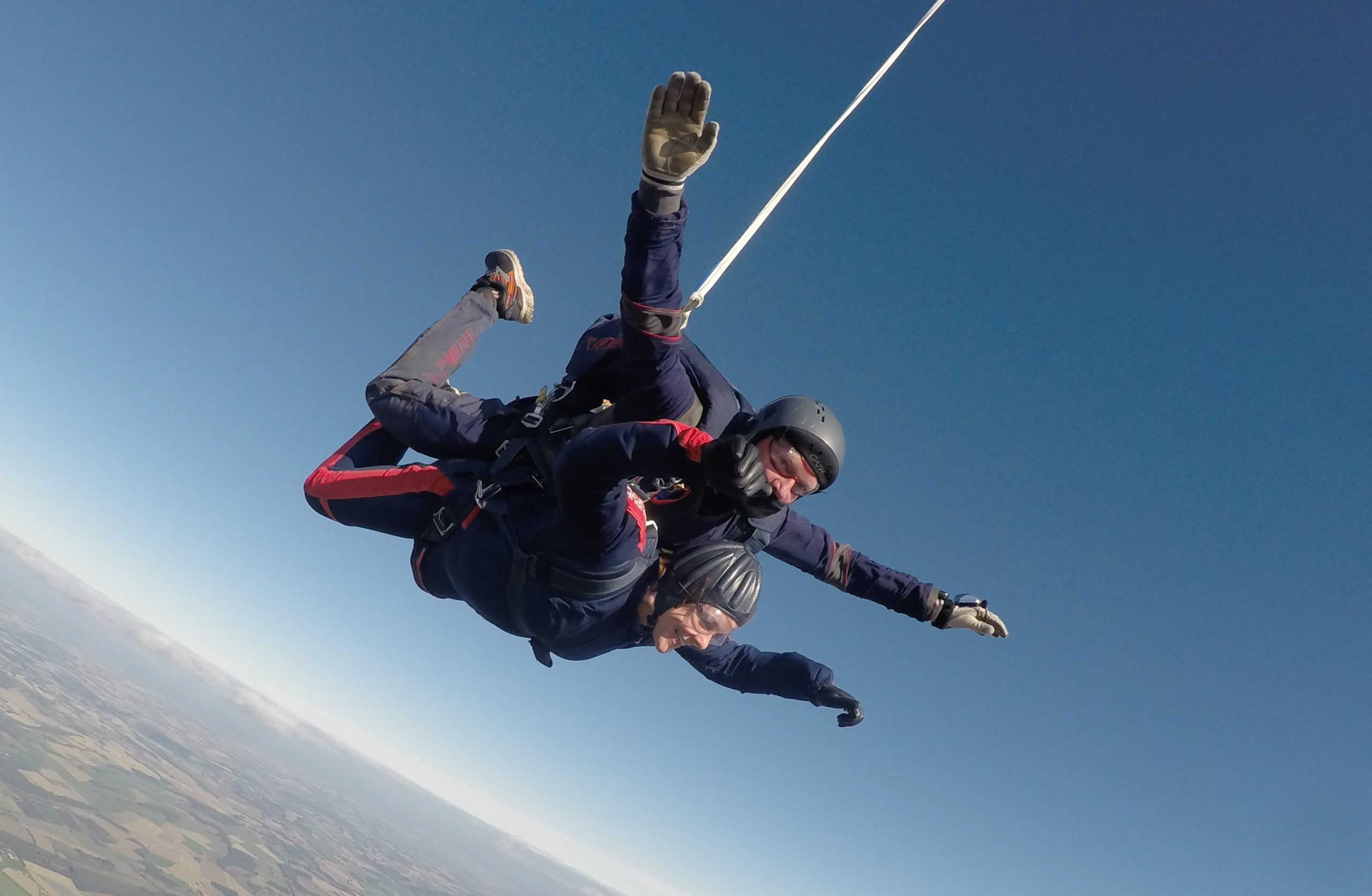 Julie Forster skydiving in support of VOCAL